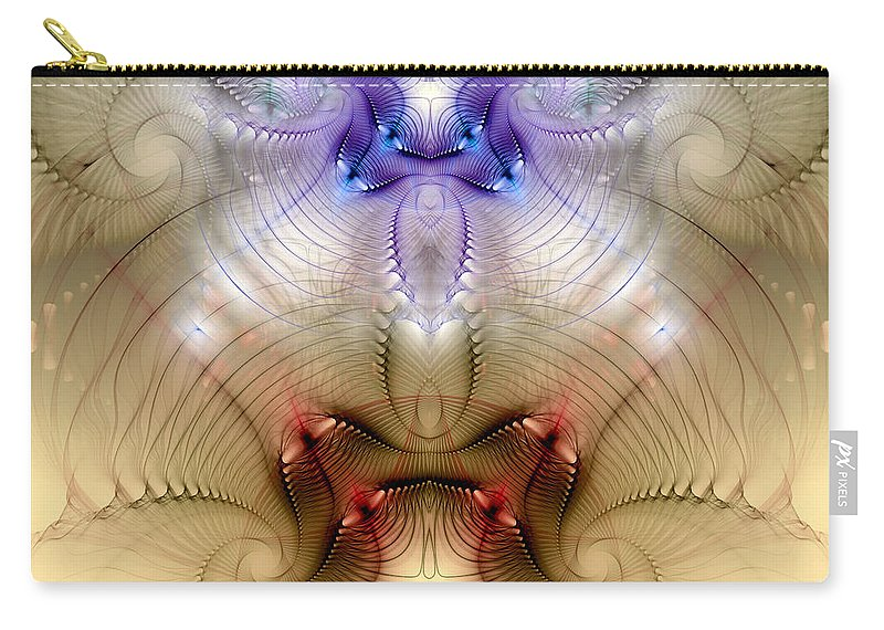 Abstract Carry-all Pouch featuring the digital art Meditative Symmetry 3 by Casey Kotas