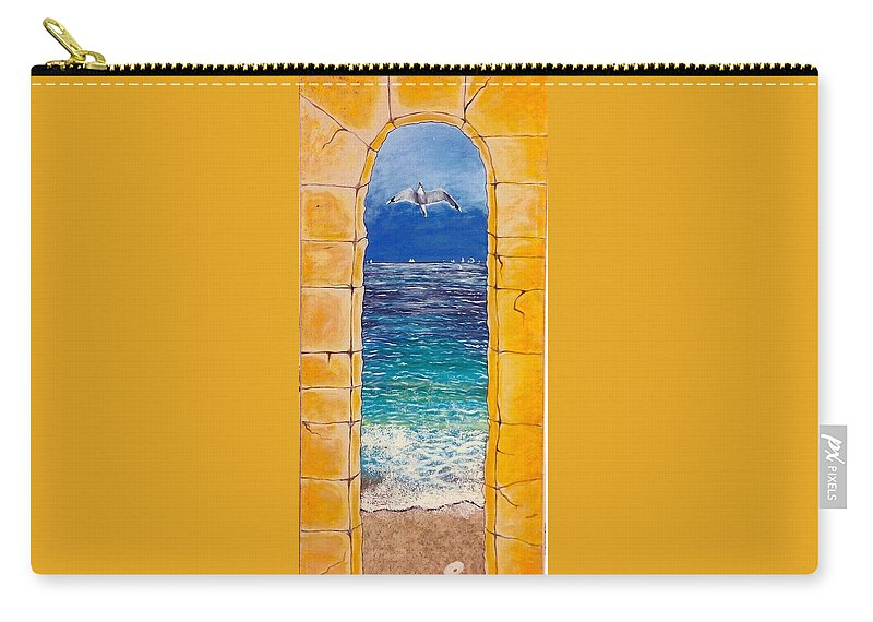 Beach Carry-all Pouch featuring the painting Mediterranean Meditation by V Boge