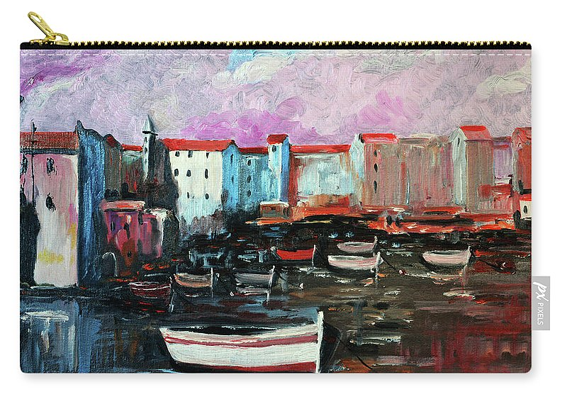 Mediterranean Carry-all Pouch featuring the painting Mediterranean Port by Rok Lekaj