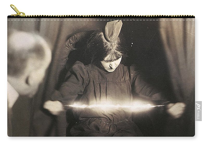 1912 Carry-all Pouch featuring the photograph Medium During Seance 1912 by Granger