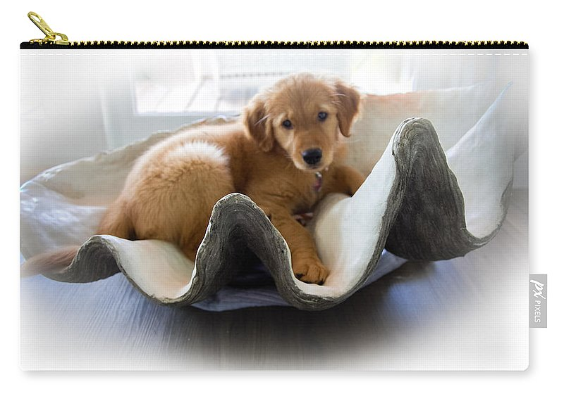 Golden Retrievers Carry-all Pouch featuring the photograph Mini Pearl by Karen Wiles