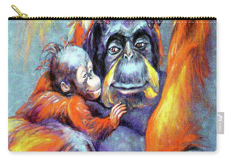 Apes Carry-all Pouch featuring the painting Meet My Son by Laura Glusha