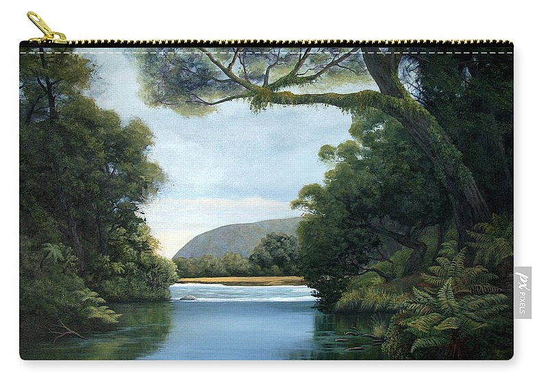 New Zealand Artist Carry-all Pouch featuring the painting Meeting Of The Waters by Lorna Allan