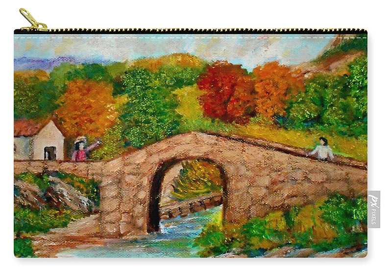 Bridges Carry-all Pouch featuring the painting Meeting On The Old Bridge by Konstantinos Charalampopoulos