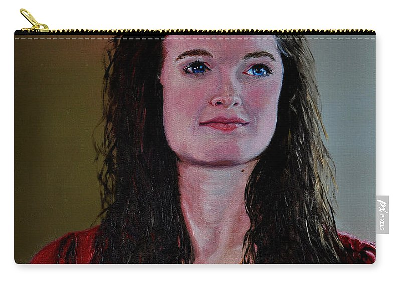 Woman Carry-all Pouch featuring the painting Megan At Eighteen by Stan Hamilton
