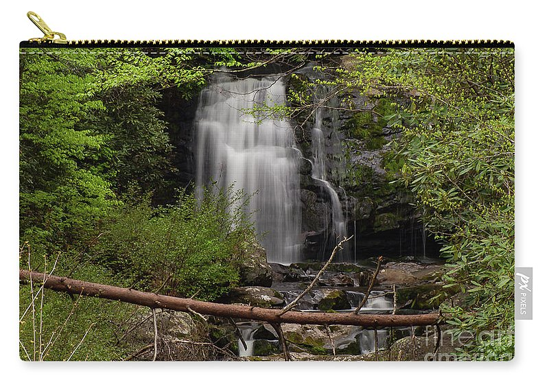 Meigs Falls Carry-all Pouch featuring the photograph Meigs Falls One by Bob Phillips