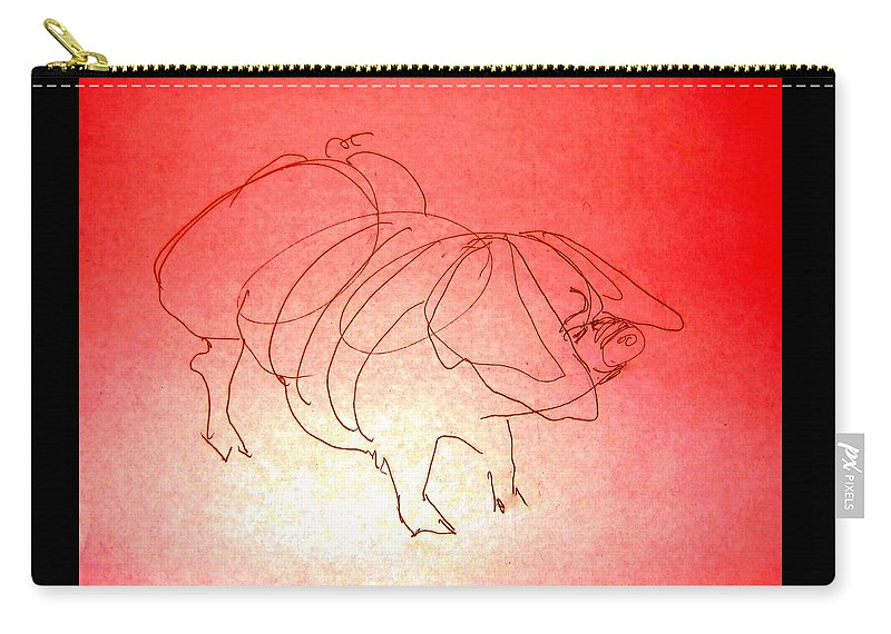 Pig Carry-all Pouch featuring the drawing Meishan Sow 3 by Larry Campbell