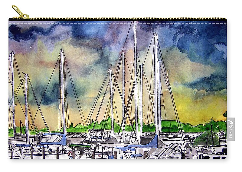 Boat Carry-all Pouch featuring the digital art Melbourne Florida Marina by Derek Mccrea