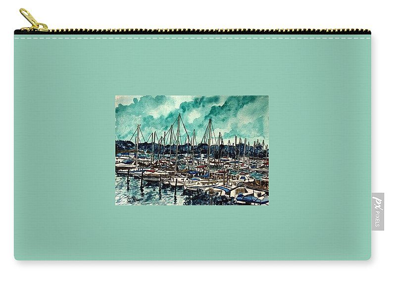 Sailboat Carry-all Pouch featuring the painting Melbourne Florida Sailing Marina by Derek Mccrea