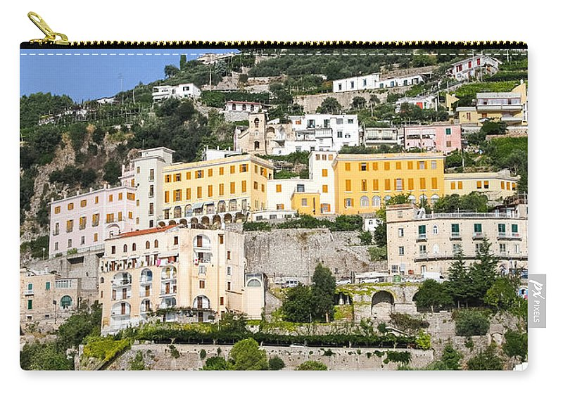 Almafi Coast Carry-all Pouch featuring the photograph Mellow Yellow Buildings by Allan Levin