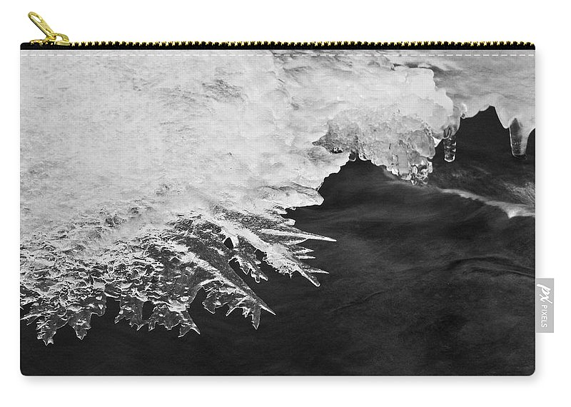 Ice Carry-all Pouch featuring the photograph Melting Creek by Amber Flowers