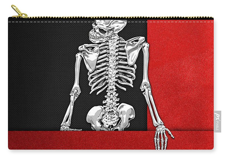 Visual Art Pop By Serge Averbukh Carry-all Pouch featuring the photograph Memento Mori - Skeleton on Red and Black by Serge Averbukh