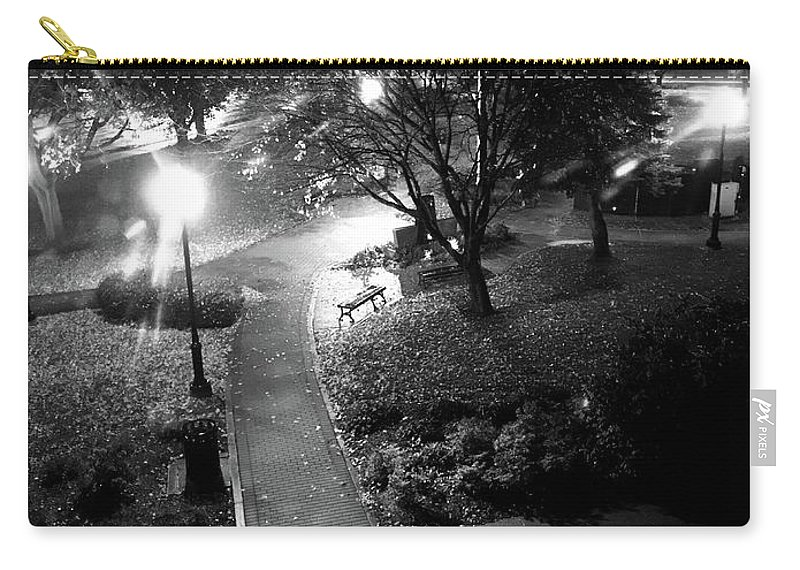 Black And White Carry-all Pouch featuring the photograph Memorial Park by Krisjan Krafchak