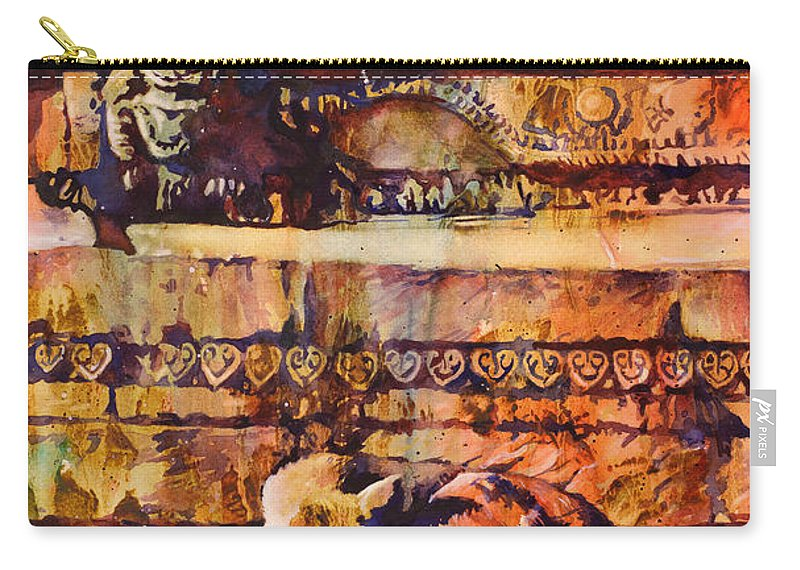 Art Prints Carry-all Pouch featuring the painting Memories Of Happier Times- Nepal by Ryan Fox