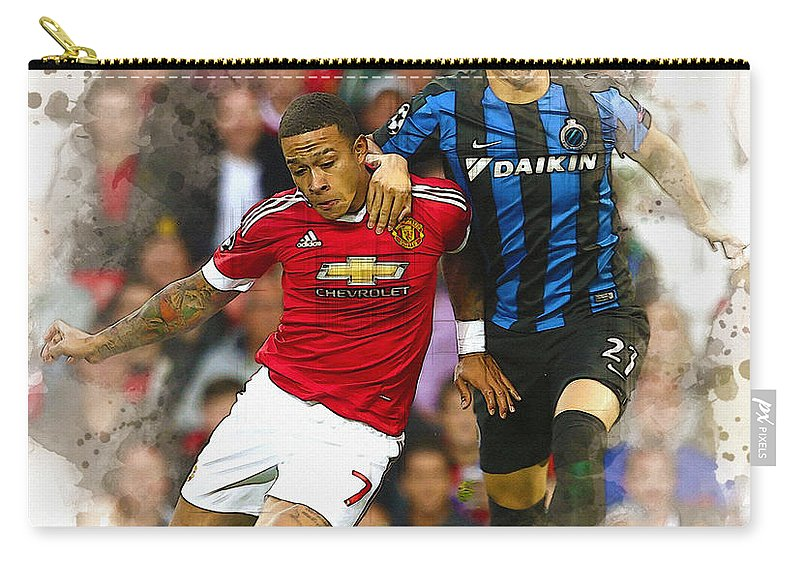 Uefa Chamipons League Carry-all Pouch featuring the digital art Memphis Depay Of Manchester United In Action by Don Kuing