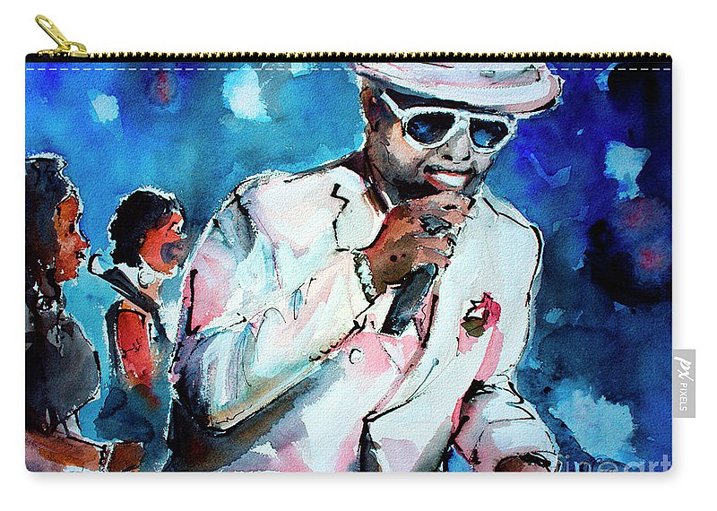William Bell Carry-all Pouch featuring the painting Memphis Music Legend William Bell On Stage 1 by Ginette Callaway