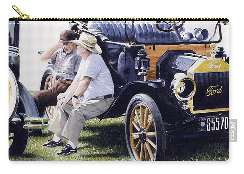 Antique Cars Carry-all Pouch featuring the painting Men And Their Toys by Denny Bond