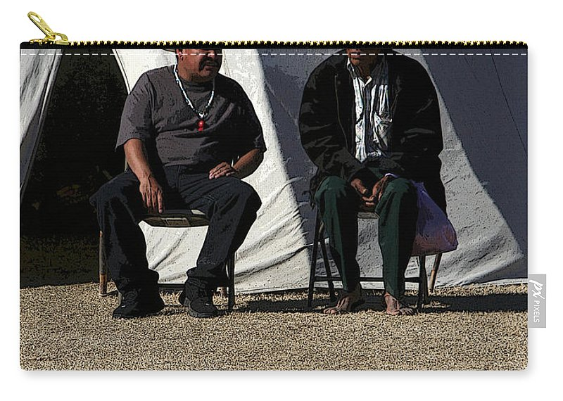 Pow Wow Carry-all Pouch featuring the photograph Men Talking by Joe Kozlowski