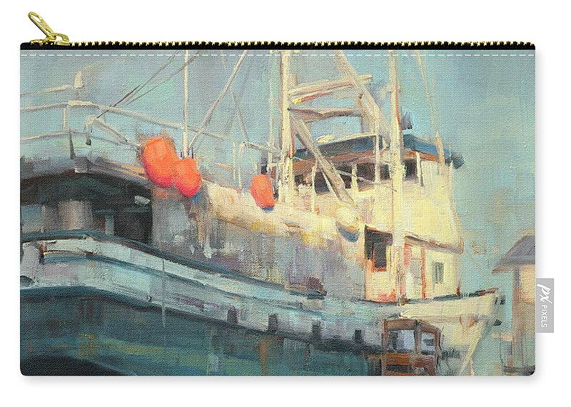 Boat Carry-all Pouch featuring the painting In Dry Dock by Charles Thomas Fine Art