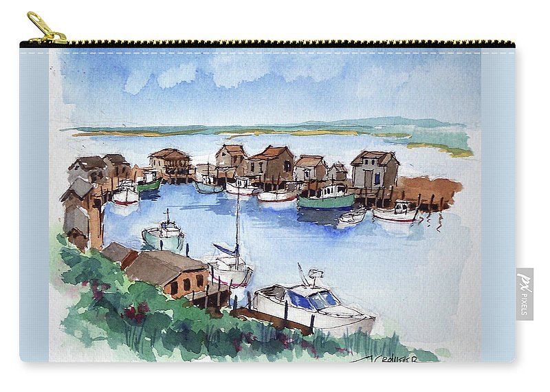 Marine Carry-all Pouch featuring the painting Menemsha Safe Haven by John Crowther