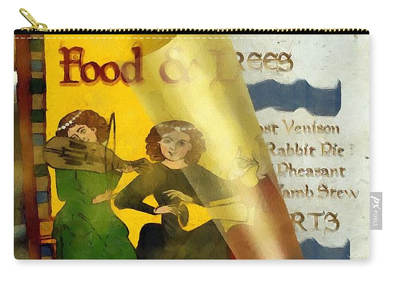 Colorful Carry-all Pouch featuring the painting Menu From A Medieval Restaurant by RC DeWinter
