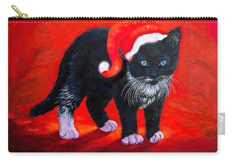 Christmas Carry-all Pouch featuring the painting Meow Christmas Kitty by Zina Stromberg