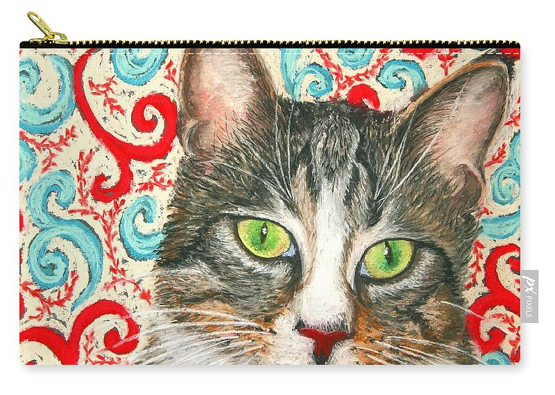 Cat Carry-all Pouch featuring the painting Meow Please... by Minaz Jantz