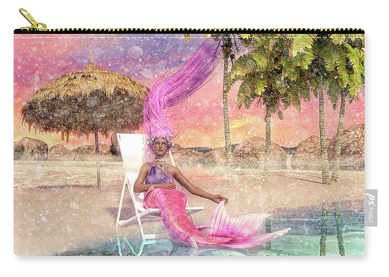 Mermaid Carry-all Pouch featuring the digital art Mermaid By The Sea by Betsy Knapp