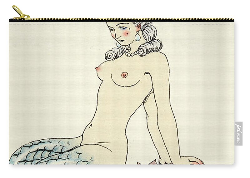 Mermaid Carry-all Pouch featuring the painting Mermaid, From Les Liaisons Dangereuses by Georges Barbier