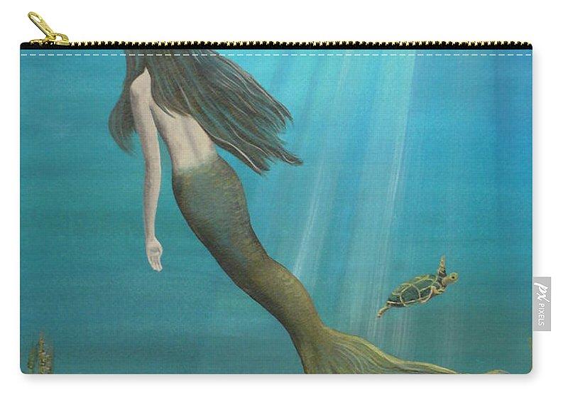 Mermaid Carry-all Pouch featuring the painting Mermaid Of Weeki Wachee by Kris Crollard