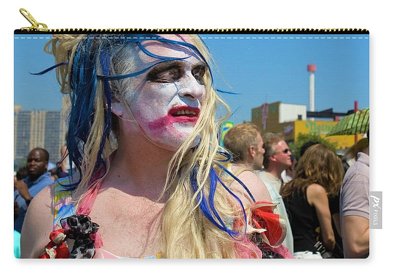 Man Carry-all Pouch featuring the photograph Mermaid Parade Man In Coney Island by Madeline Ellis
