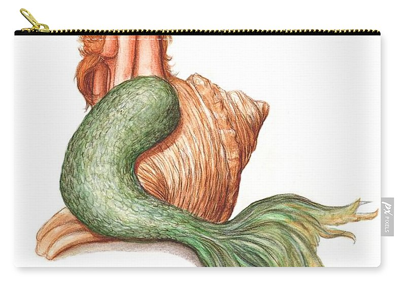 Mermaid Art Bruce Lennon Carry-all Pouch featuring the painting Mermaid Shell by Bruce Lennon