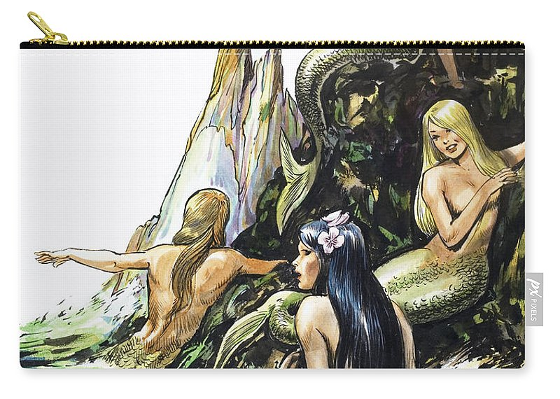 Mermaid Carry-all Pouch featuring the painting Mermaids by Nadir Quinto