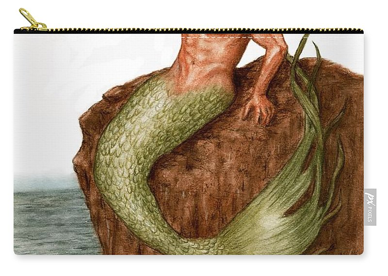 Merman Mermaid Art Bruce Lennon Carry-all Pouch featuring the painting Merman On The Rocks by Bruce Lennon