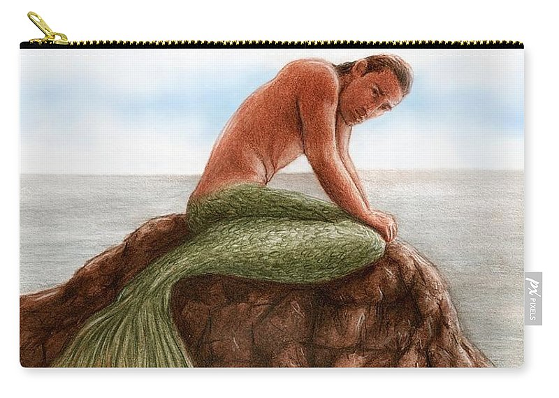 Merman Mermaid Bruce Lennon Art Carry-all Pouch featuring the painting Merman Resting by Bruce Lennon