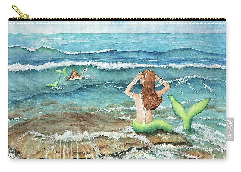 Mermomma Of Two Carry-all Pouch featuring the painting Mermomma Of Two by Michelle Constantine