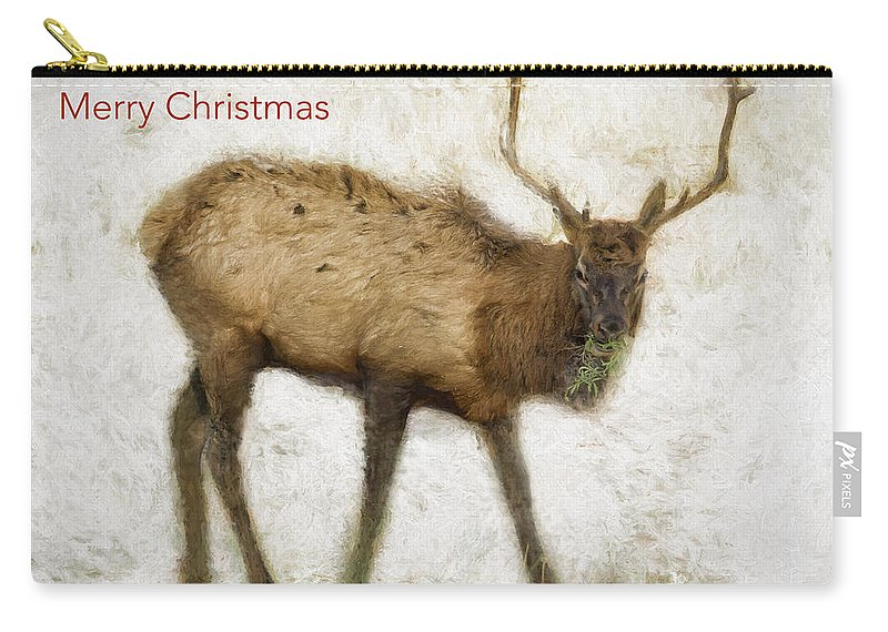 Christmas Card Carry-all Pouch featuring the photograph Merry Christmas Elk Greeting Card by Belinda Greb