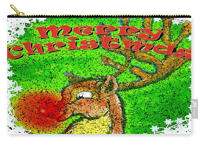 Merry Christmas Carry-all Pouch featuring the greeting card Merry Christmas Reindeer by Kevin Middleton