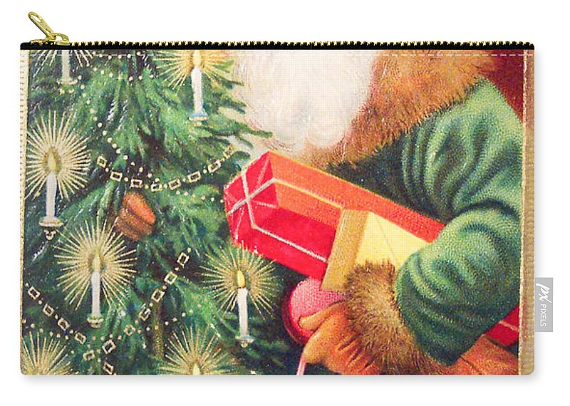 Merry Christmas Santa Delivers Gifts Vintage Card Carry-all Pouch featuring the painting Merry Christmas Santa Delivers Gifts Vintage Card by R Muirhead Art
