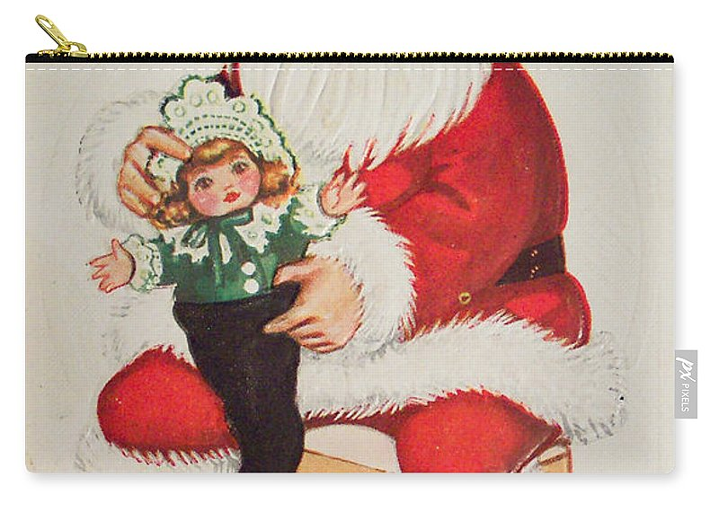 Merry Christmas Santa Pulls Doll From His Sack Vintage Card Carry-all Pouch featuring the painting Merry Christmas Santa Pulls Doll From His Sack Vintage Card by R Muirhead Art