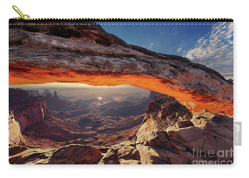America Carry-all Pouch featuring the photograph Mesa Arch At Sunrise by Dmitry Pichugin