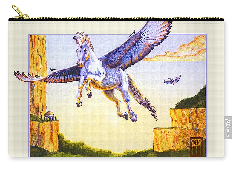 Pegasus Carry-all Pouch featuring the digital art Mesa Pegasus by Melissa A Benson
