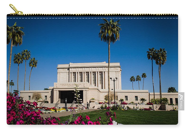 Mesa Temple Photography Carry-all Pouch featuring the photograph Mesa Temple Petunia by La Rae Roberts