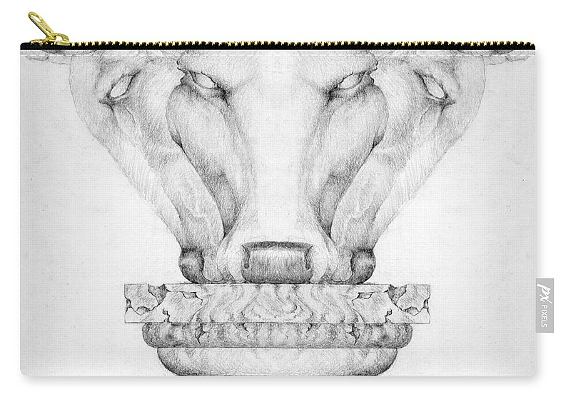 Bull Carry-all Pouch featuring the drawing Mesopotamian Capital by Curtiss Shaffer
