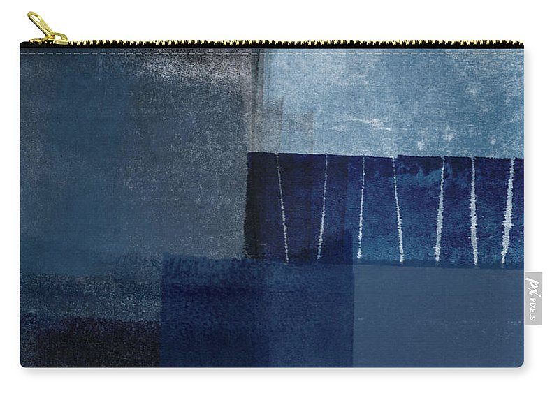 Blue Carry-all Pouch featuring the mixed media Mestro 1- Abstract Art by Linda Woods by Linda Woods