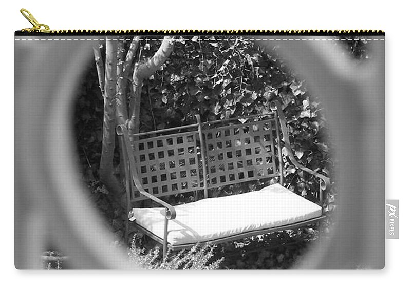 Metal Carry-all Pouch featuring the photograph Metal Bench In Sedona by Claudia Goodell