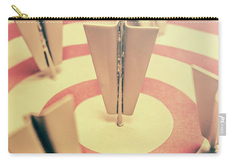 Business Carry-all Pouch featuring the photograph Metal Paper Planes In Target, Business Aims by Jorgo Photography - Wall Art Gallery
