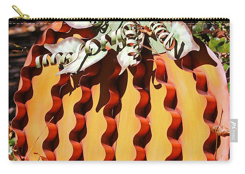 Pumpkin Carry-all Pouch featuring the photograph Metal Pumpkin by Jennifer Robin