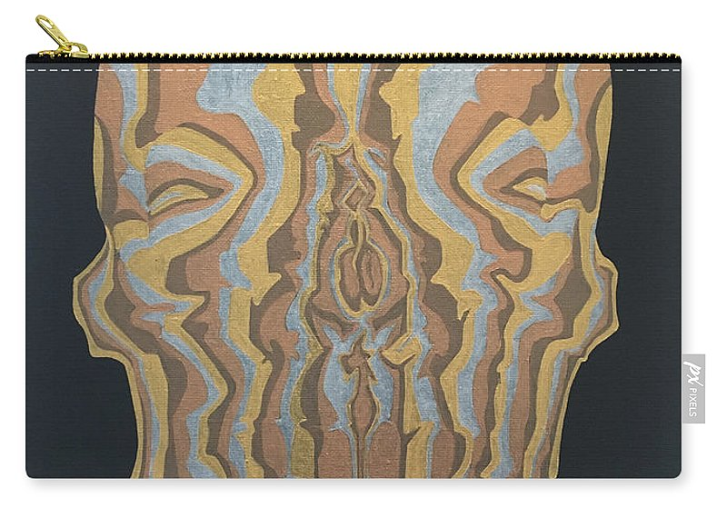 Skull Carry-all Pouch featuring the painting Metallic Skull by Kyle Jewell