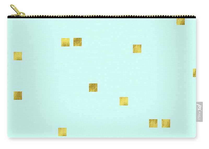 Pale Aqua Carry-all Pouch featuring the digital art Metallic Square Confetti Print, Gold Squares On Aqua by Tina Lavoie